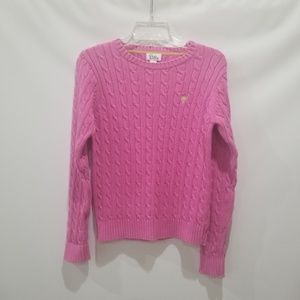 Lilly Pulitzer Pink Cable Knit Sweater Sz M